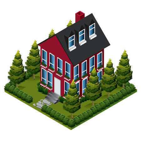 residency: isometric house Illustration