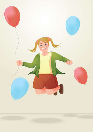 ponytails: girl jumping with balloons Illustration