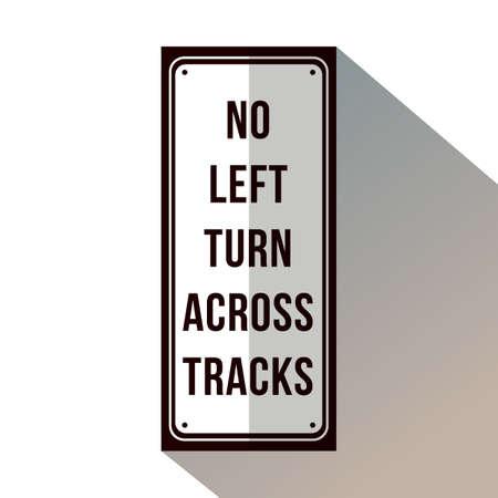 No hay giro a la izquierda en la señalización de las pistas. Foto de archivo - 81485639