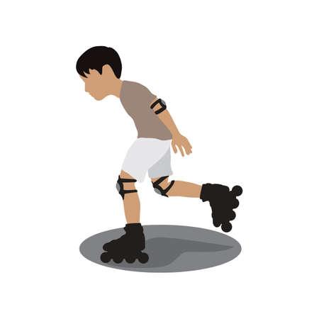 jongen spelen in-line skaten Vector Illustratie