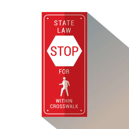 stop for pedestrians within crosswalk Illustration