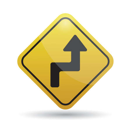 reverse: reverse turn right warning sign Illustration