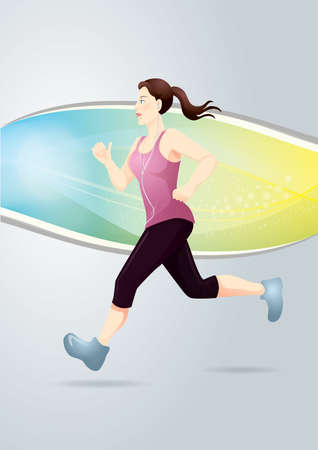 life style people: girl jogging Illustration