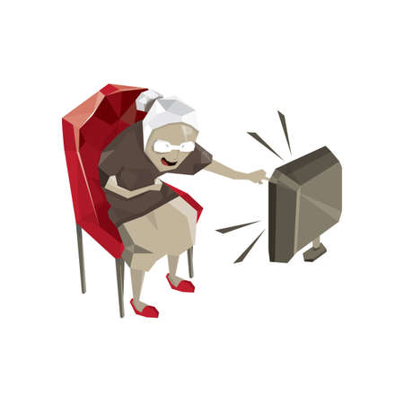 old women watching television