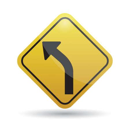 curve: sharp curve ahead sign