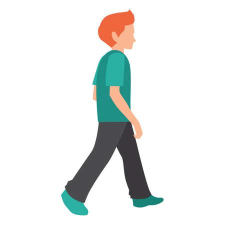 full figure: boy walking Illustration