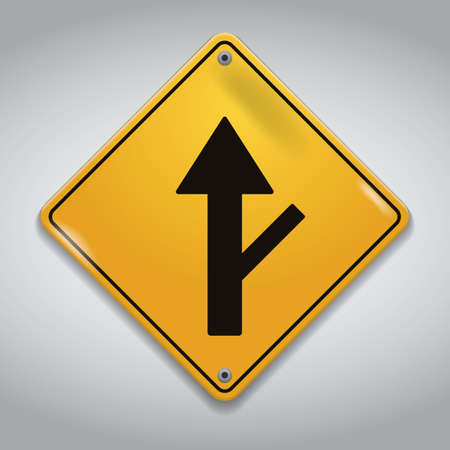side of the road: side road right sign Illustration