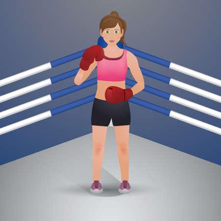 vrouw bokser in actie