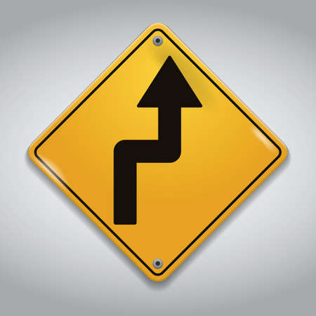 reverse: right reverse curve road sign Illustration