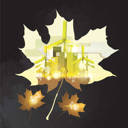 double exposure: double exposure of maple leaf and factory
