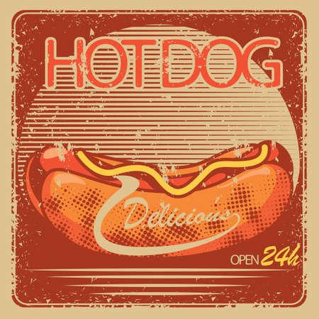 open sign: hotdog store open sign Illustration