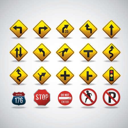 collectie van verkeersborden