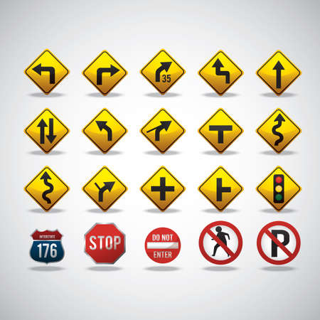 skewed: collection of road signs Illustration