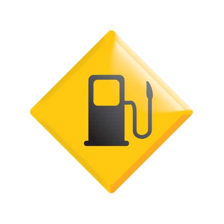 ガス ポンプ前方の道路標識