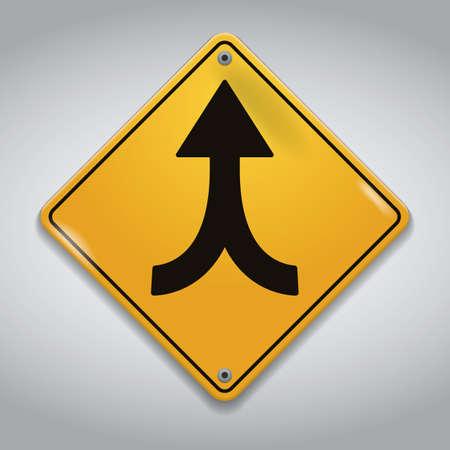 traffic lanes merging sign