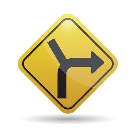 curve road: side road junction on curve road sign