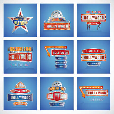 collectie van Hollywood sign board