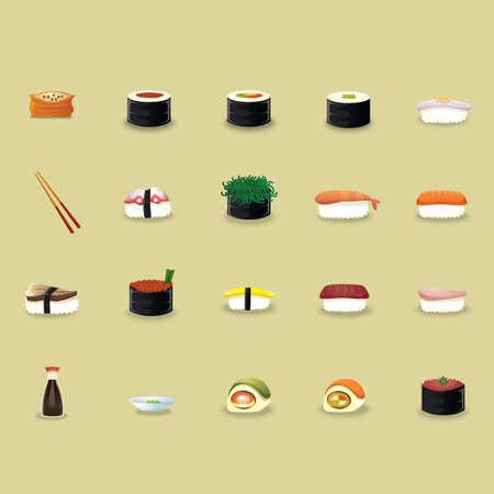 Cuisine japonaise icons set