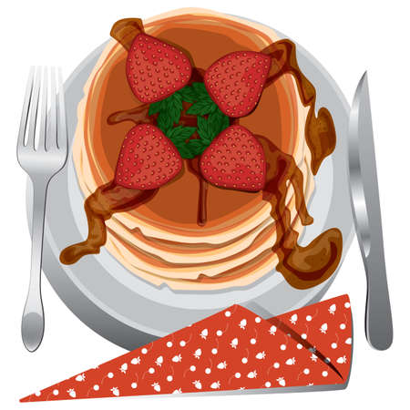 plate: strawberry pancake in a plate