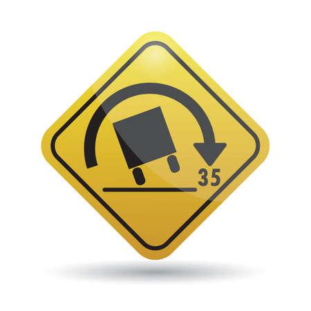 rollover: truck rollover warning for sharp curves sign Illustration