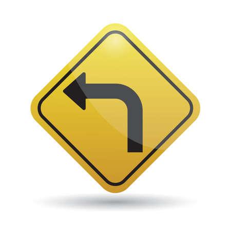 turn: left turn warning sign
