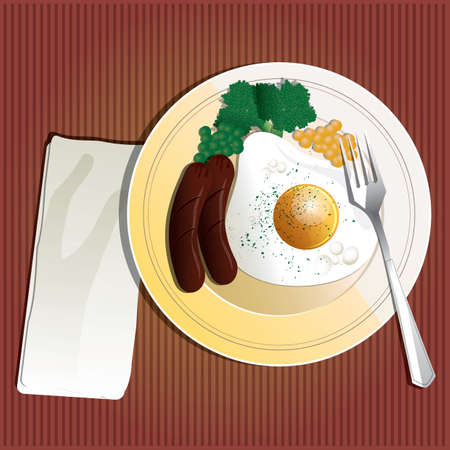 fried: fried egg with sausage Illustration