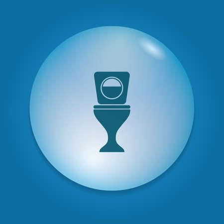 button front: toilet bowl icon