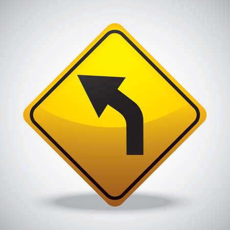 curve road: left curve road sign
