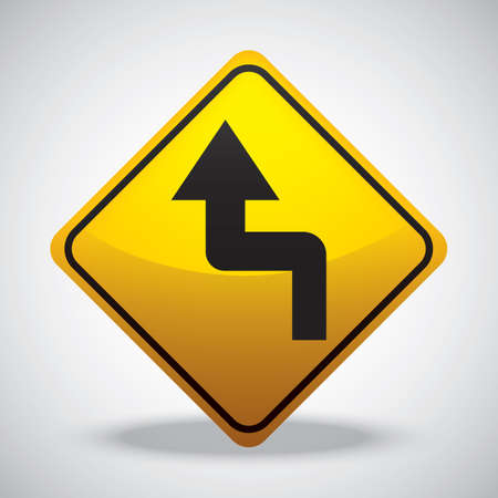 reverse: left reverse turn road sign Illustration