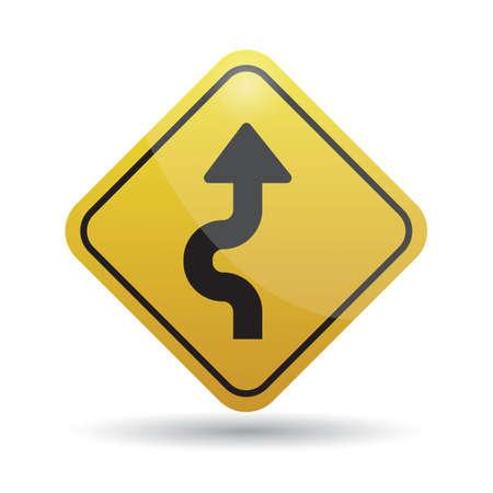 highway signs: winding warning sign Illustration