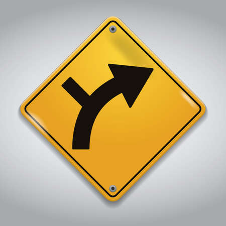 side of the road: side road junction on a curve road sign