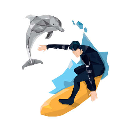 hombre surfeando Ilustración de vector