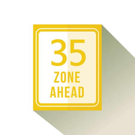 thirty five zone ahead Stok Fotoğraf - 106669703