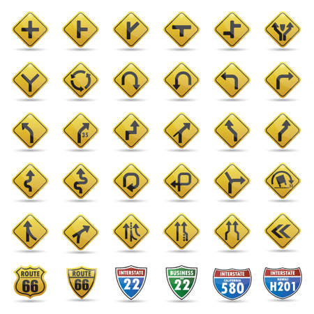 rollover: collection of road signs Illustration