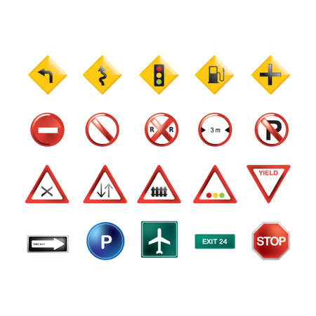 collection of road signs Illusztráció