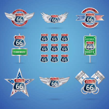 66: collection of route 66 badges Illustration
