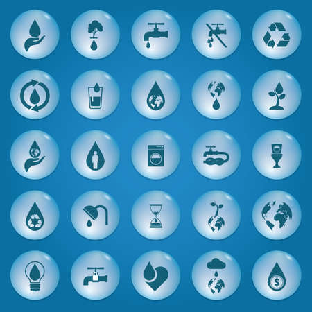 wastage: collection of save water icons