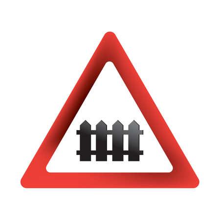 Passage à niveau avec panneau de signalisation Banque d'images - 81485034