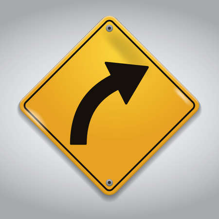 curve road: right-hand curve road sign