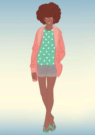 woman standing: woman standing Illustration