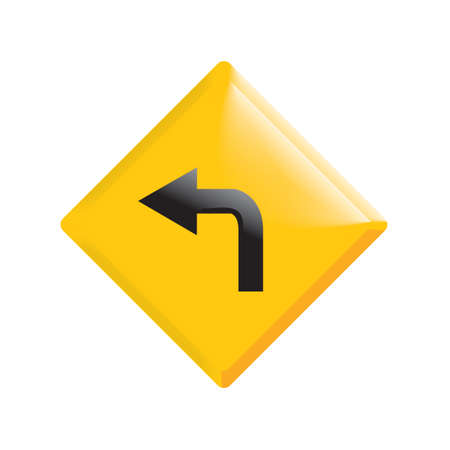左の道路標識を行く  イラスト・ベクター素材