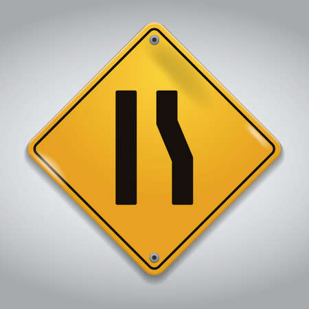 narrows: road narrows from right sign