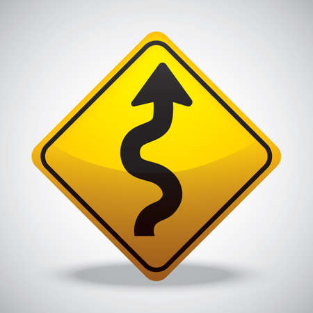 winding: winding road right road sign