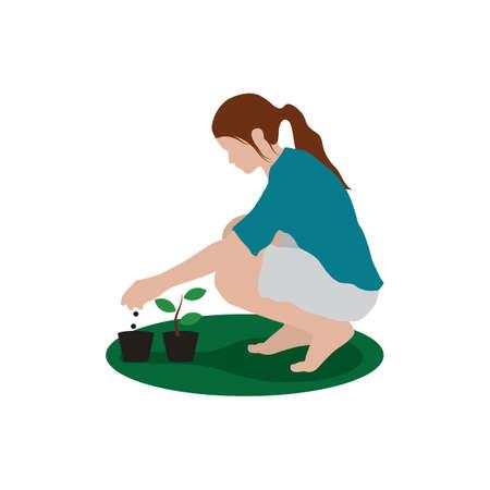 planting: girl planting plant