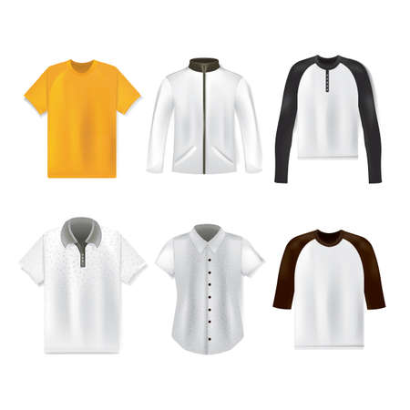 set of shirt and t-shirts 向量圖像