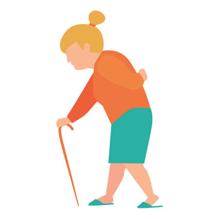 old person: old woman walking with cane
