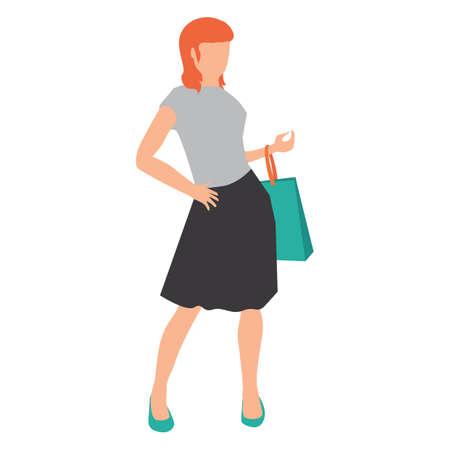 woman holding bag: woman holding shopping bag