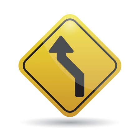 reverse: left reverse curve warning sign