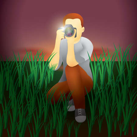 man taking picture Illustration