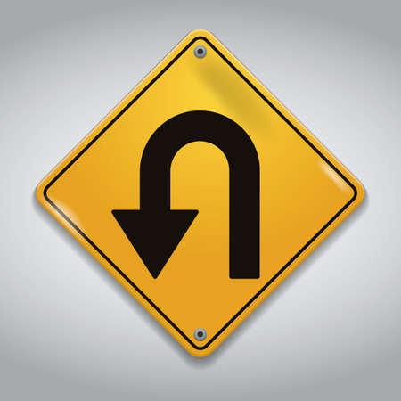 take: take u-turn road sign
